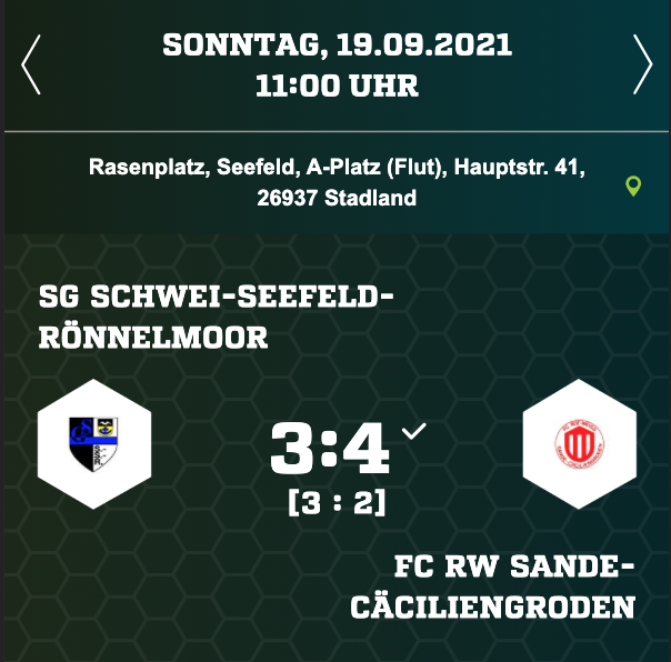 Spiel gegen die SG Schwei-Seefeld-Rönnelmoor